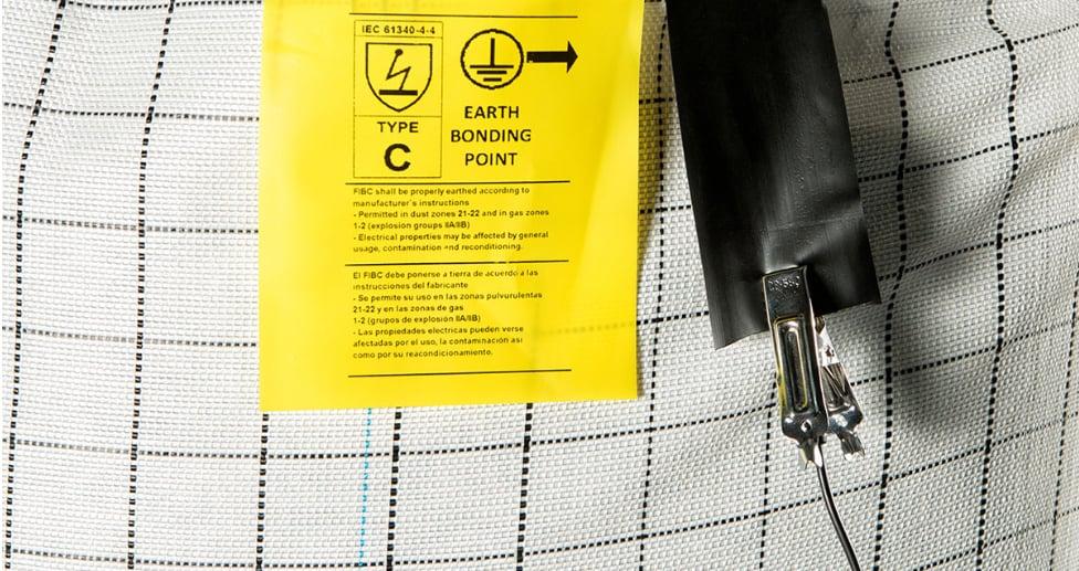 Type C FIBC bag Earth Bonding Label in Use, fibc bulk bag specification
